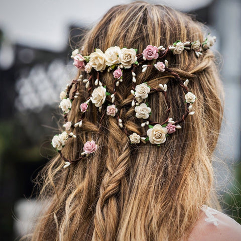 AUDREY Flower Crown with trailing vine