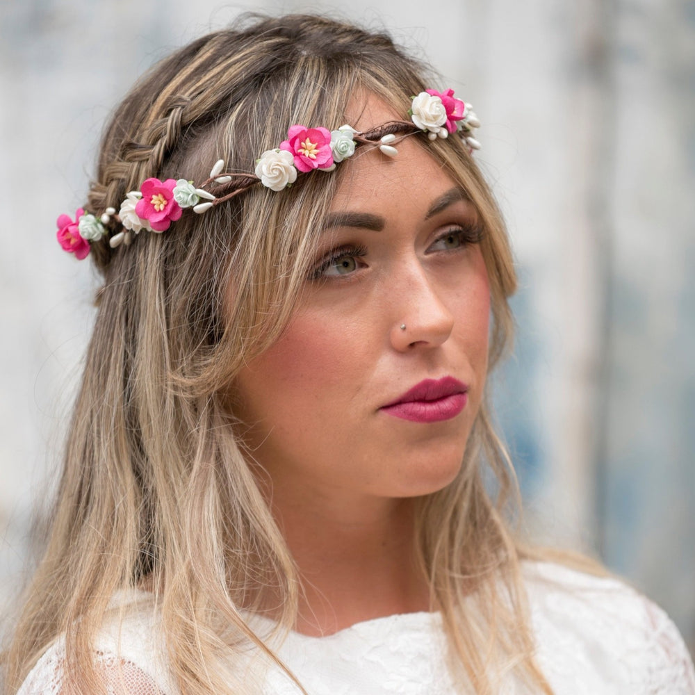 Pink and Mint Flower Crown