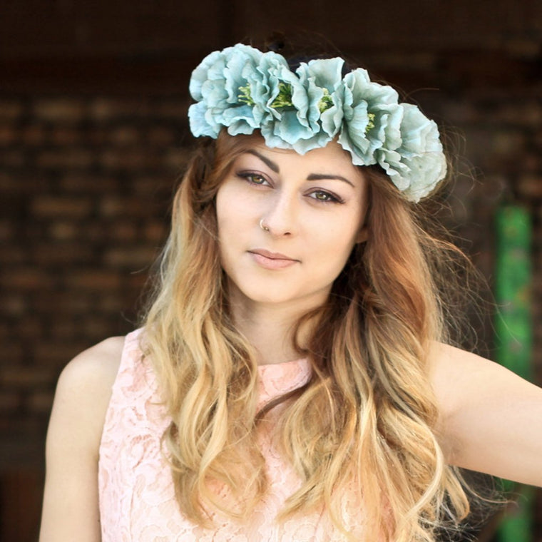 POPPY Blue Oversized Floral Crown
