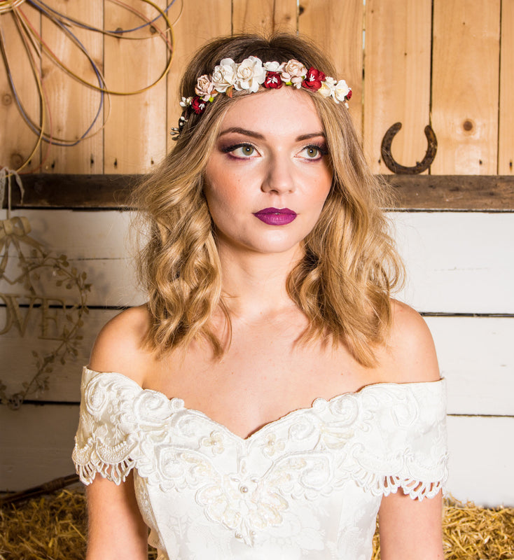 RUBY Red Flower Crown by Flash Floozy