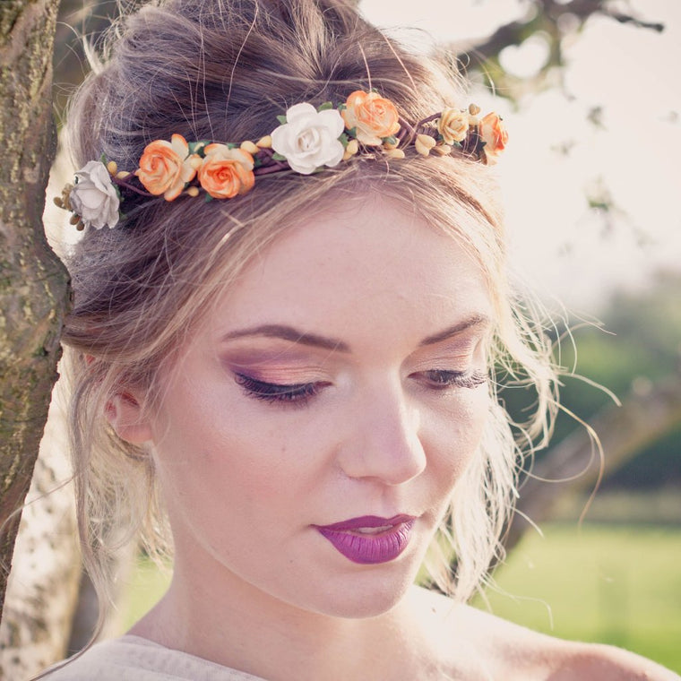 COCO Ivory and Yellow Rose Flower Crown