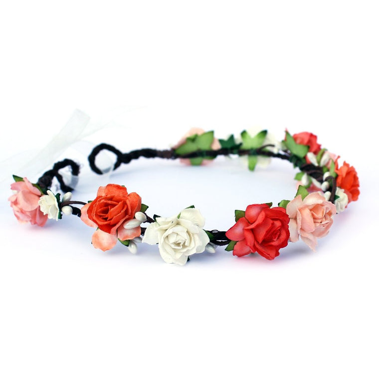 CHARLOTTE Coral and Ivory Rose Floral Crown