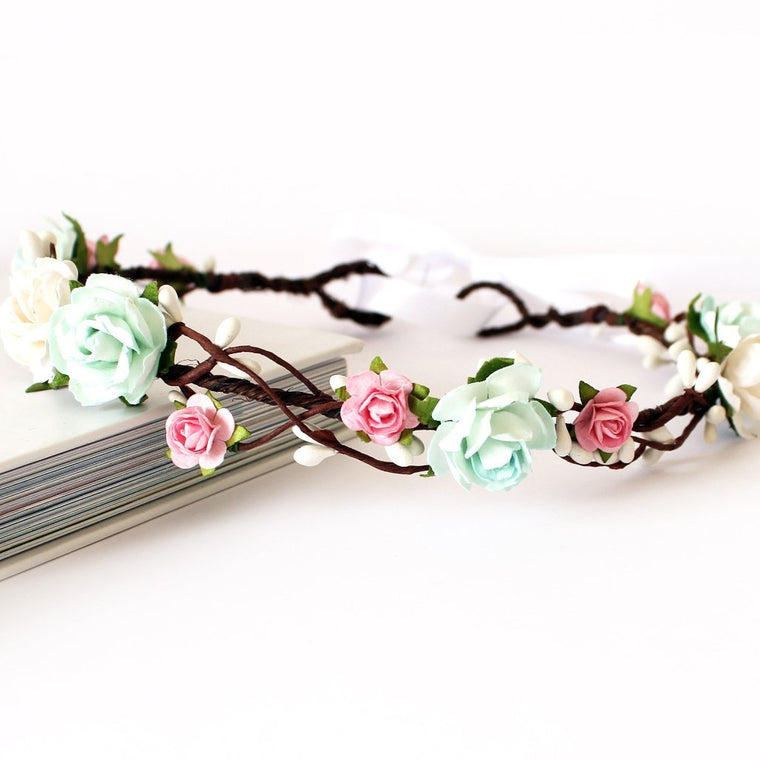 KENDALL Pink and Mint Rose Floral Crown