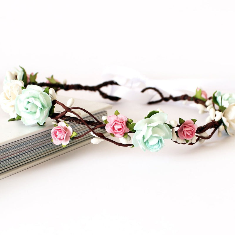 KENDALL Mint and Pink Flower Crown
