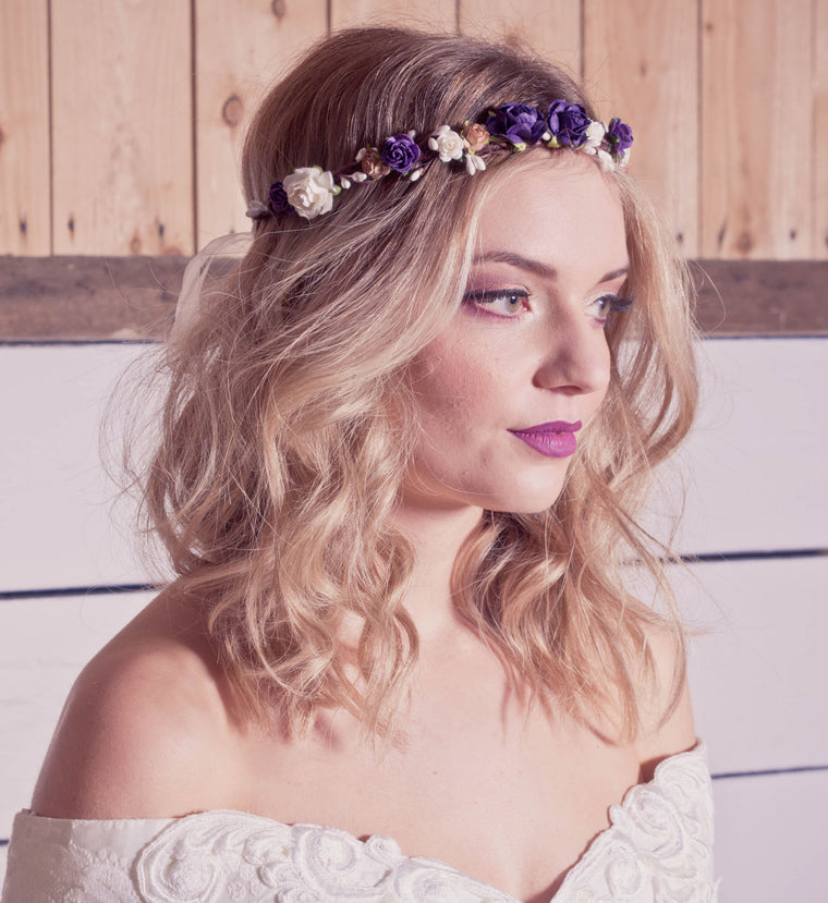 GINA Purple Coffee and Ivory Rose Floral Crown