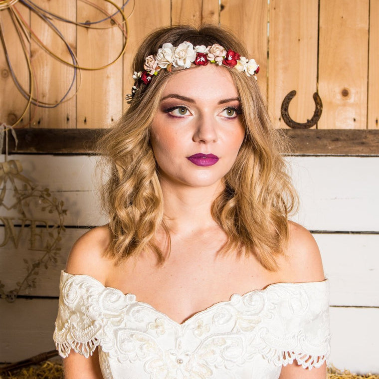 RUBY Mixed Red Blossom and Rose Floral Crown