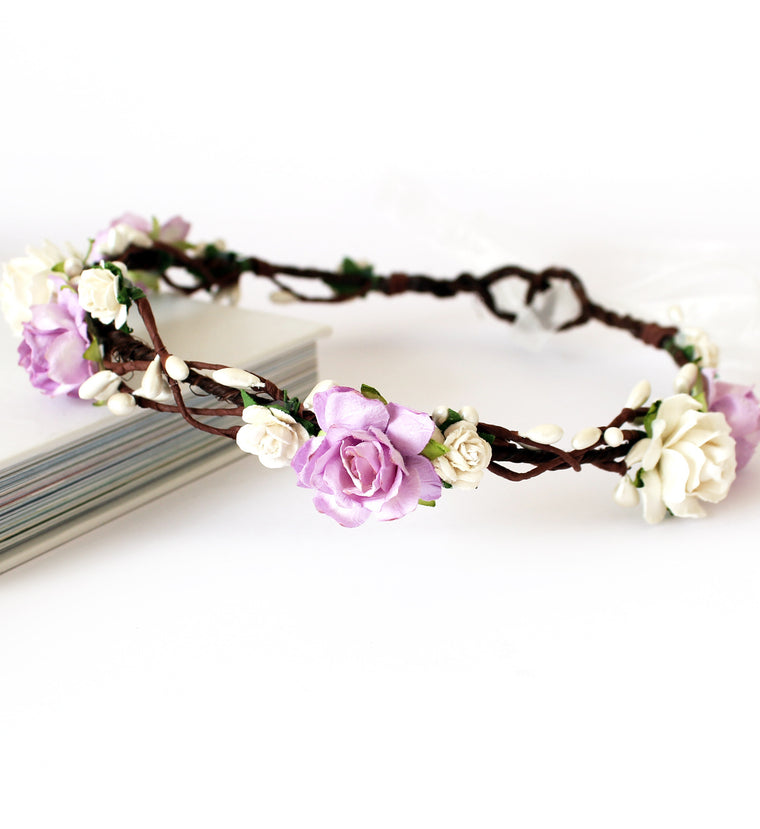 KENDALL Ivory and Lilac Rose Floral Crown