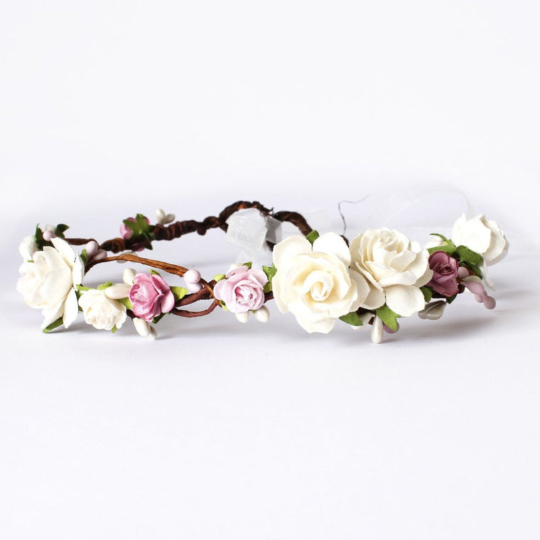 ERIN Ivory Rose and Pink Pip Floral Crown