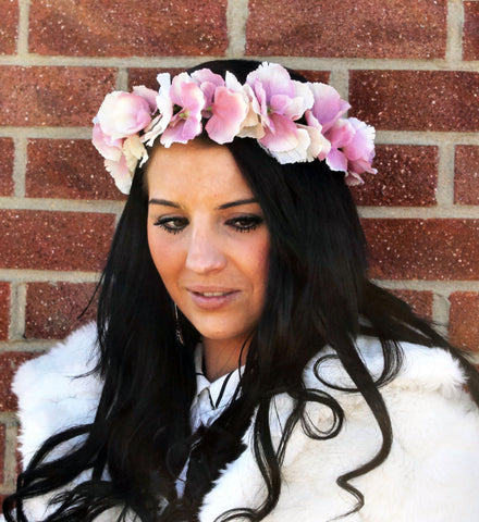 CAPRICE Vintage Cream and Pink Hydrangea Flower Garland