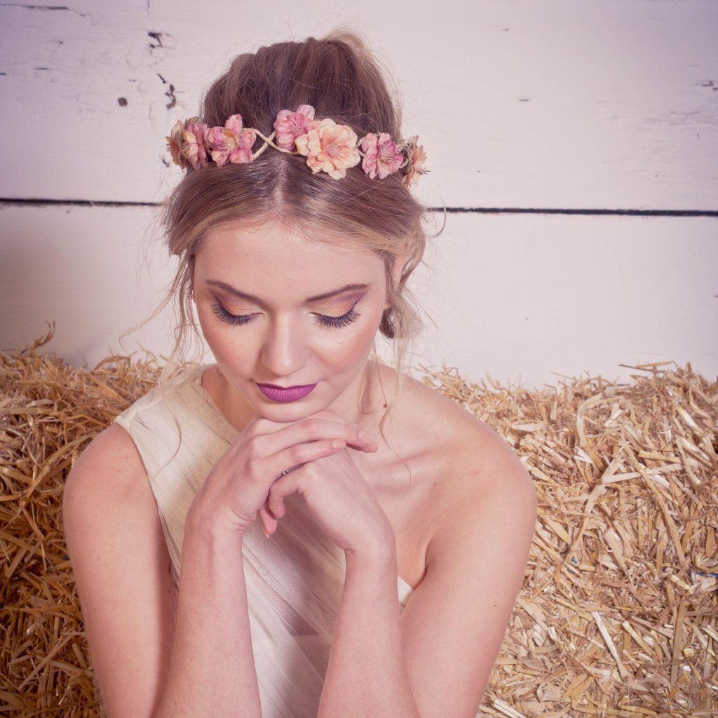 Fall wedding flower crown burnt orange