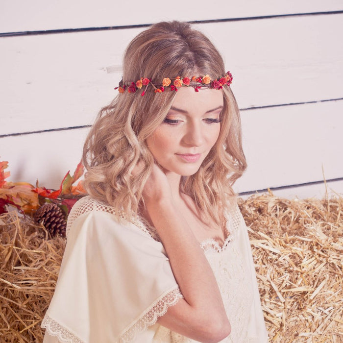 Red and Orange Autumn Flower Crown