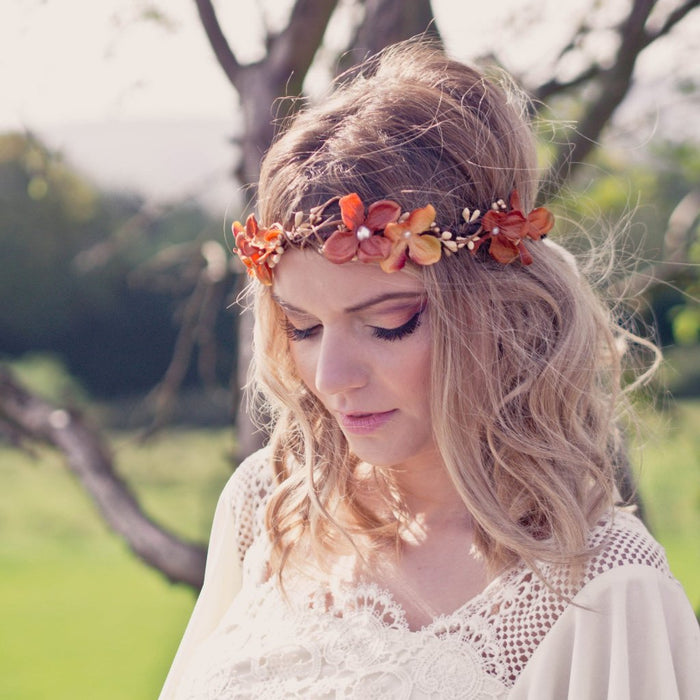 SOPHIA Burnt Orange Floral Crown