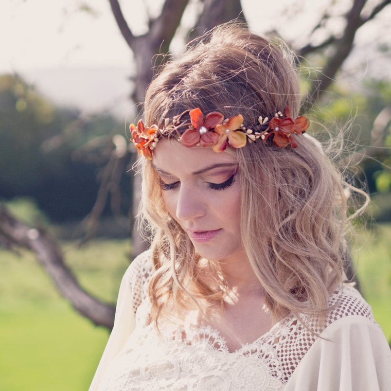SOPHIA Burnt Orange Hydrangea Floral Crown