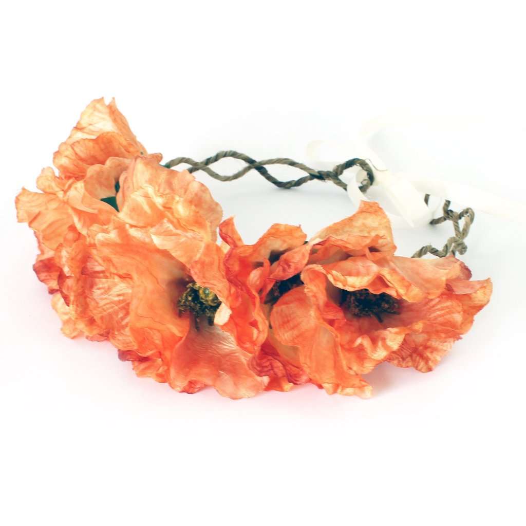 POPPY Orange Floral Crown by Flash Floozy