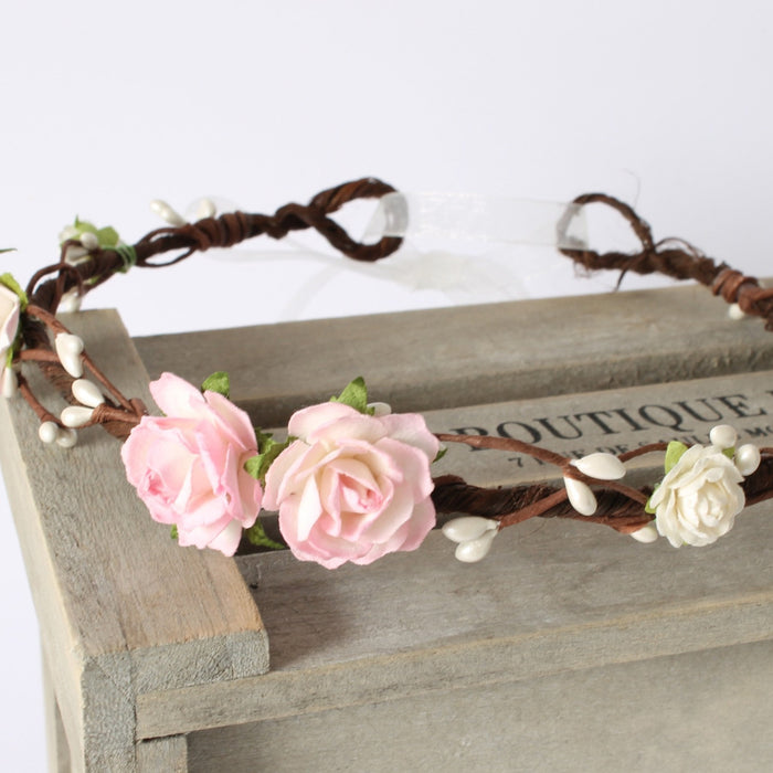 ELSIE Pink Rose Flower Crown for Wedding