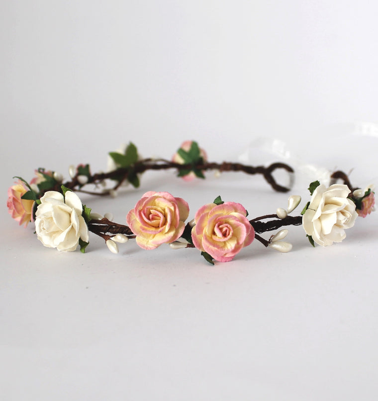 COCO Champagne Pink Rose Flower Crown