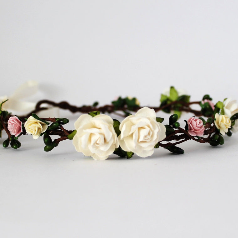 Pink Ivory floral crown for boho wedding