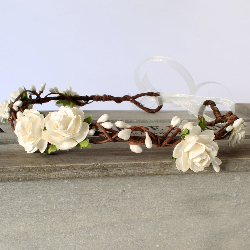 ELSIE Ivory Rose Floral Crown by Flash Floozy