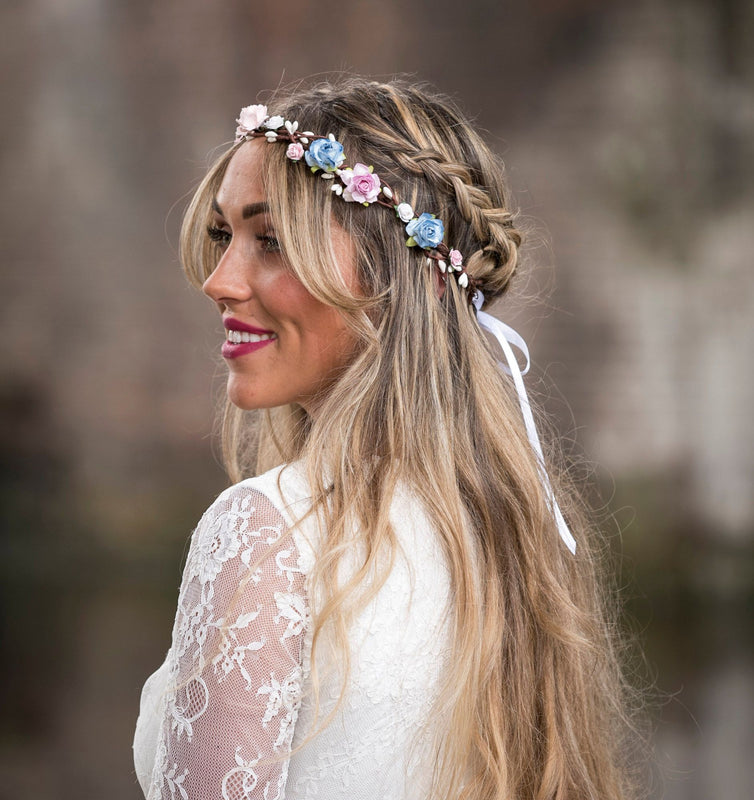 KENDALL Blue and Pink Floral Crown