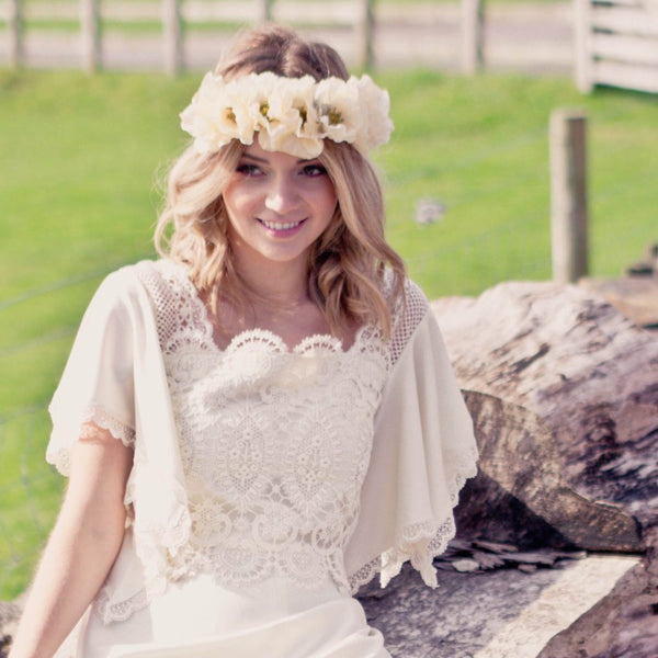 POPPY Ivory Floral Crown for Wedding by Flash Floozy