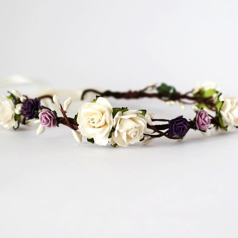 EMILY Purple and Ivory Rose Floral Crown