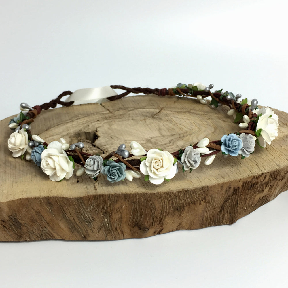 baby blue and silver boho wedding flower crown