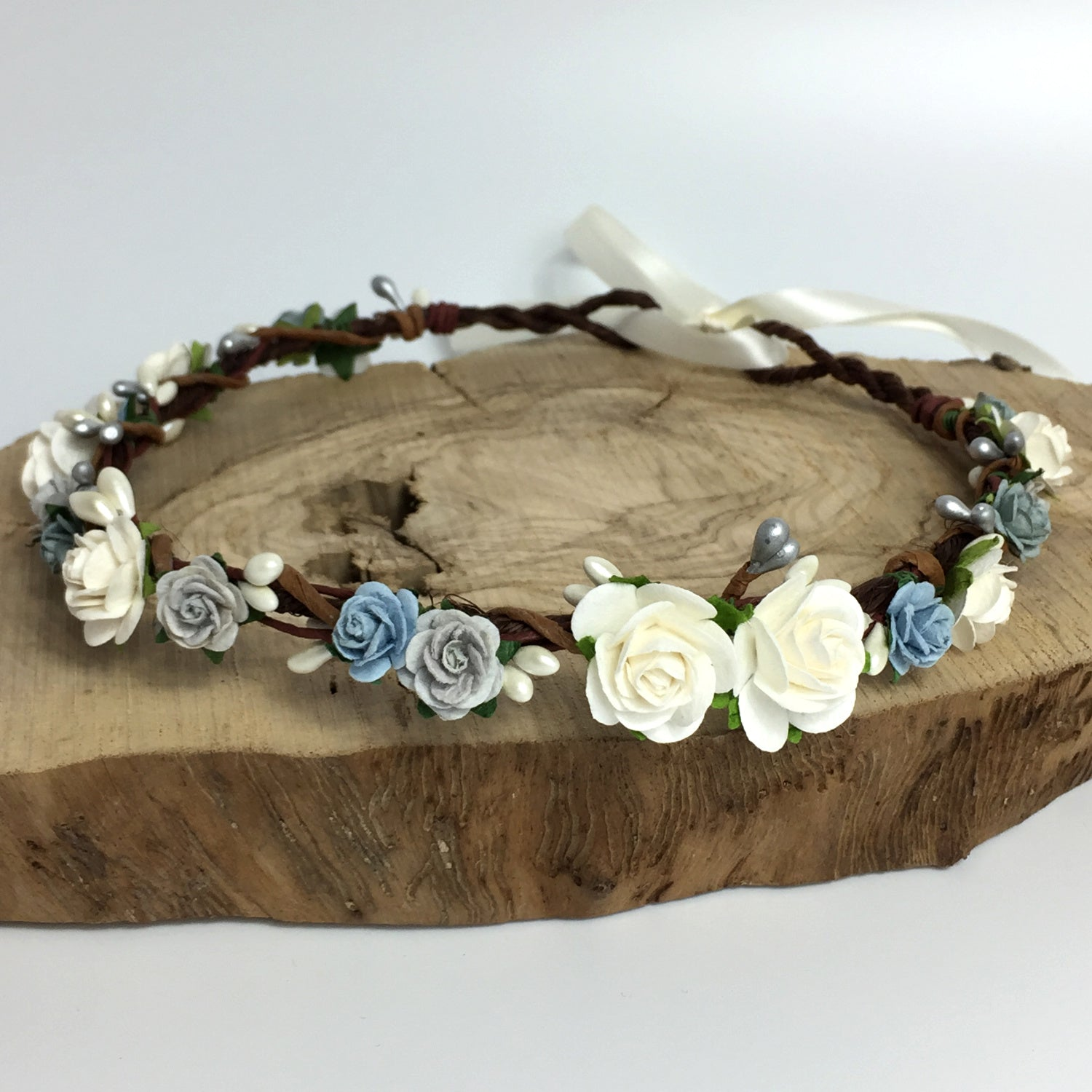 powder blue and silver flower crown