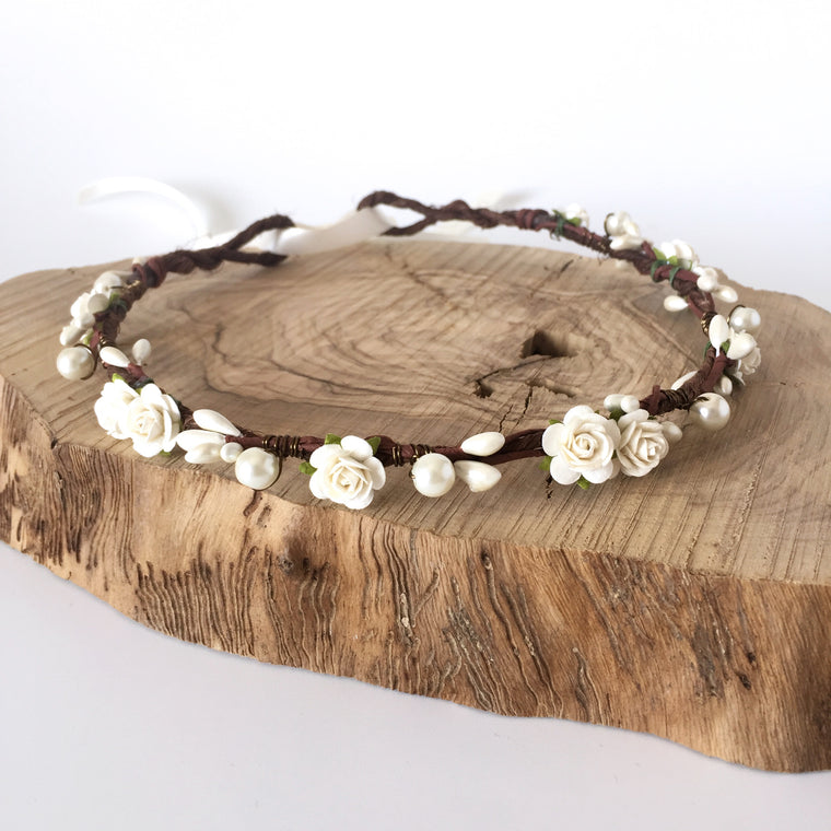ANGELICA Ivory Rose and Pearl Flower Crown