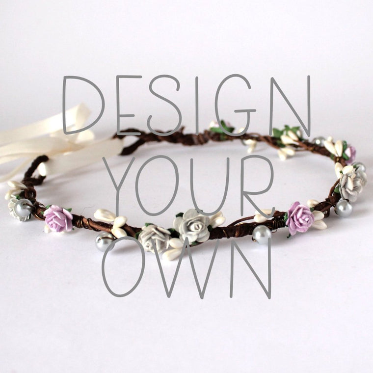 ANGELICA Rose and Pearl Flower Crown - Design your own
