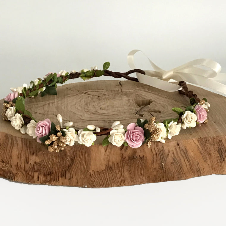 AGATHA Rose Pink and Gold Flower Crown