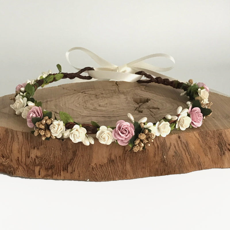 rose gold boho wedding flower crown