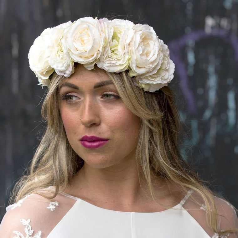AVA Ivory Oversized Rose Flower Crown