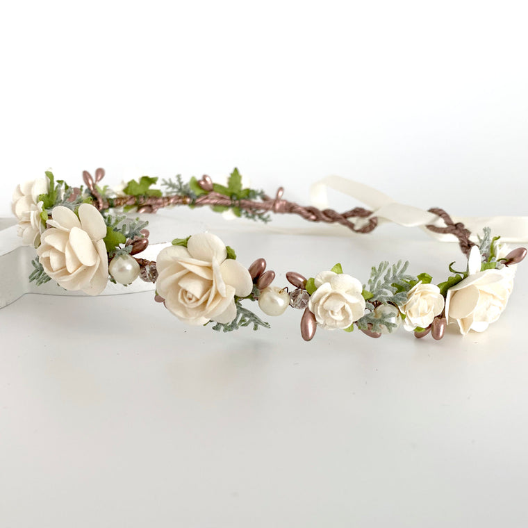 BETTY Rose Gold and Ivory Flower Crown