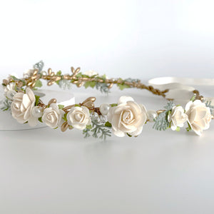 Load image into Gallery viewer, gold and ivory flower crown rustic wedding