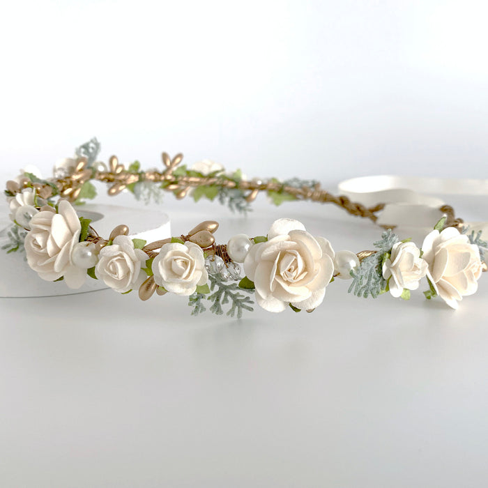 gold and ivory flower crown rustic wedding