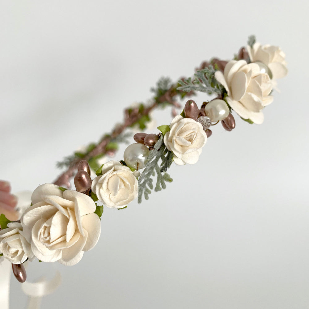 rose gold ivory flower crown