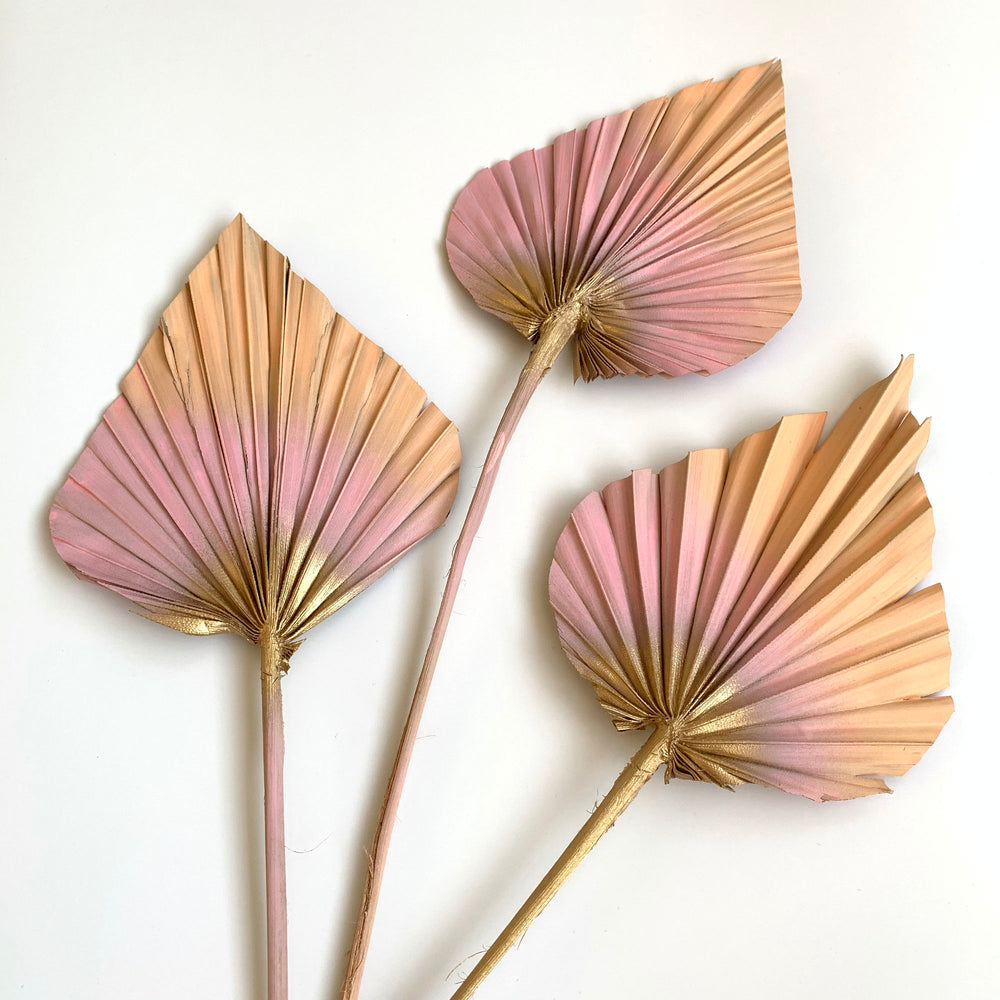 peach pink blush and gold palm spears cake topper