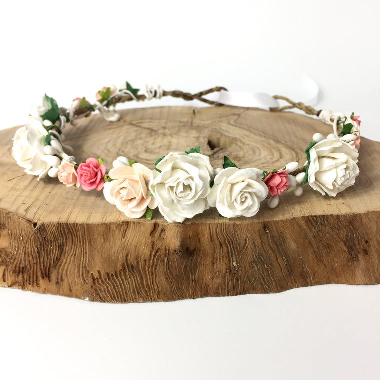 BRIDGET Coral Rose and White Pip Flower Crown