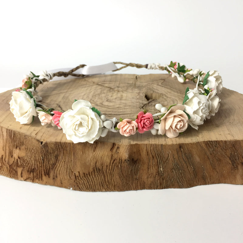 peach flower crown for wedding