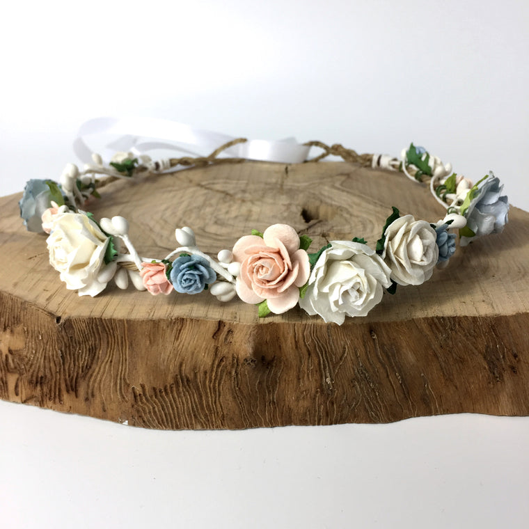 BRIDGET Blue Rose and White Pip Flower Crown