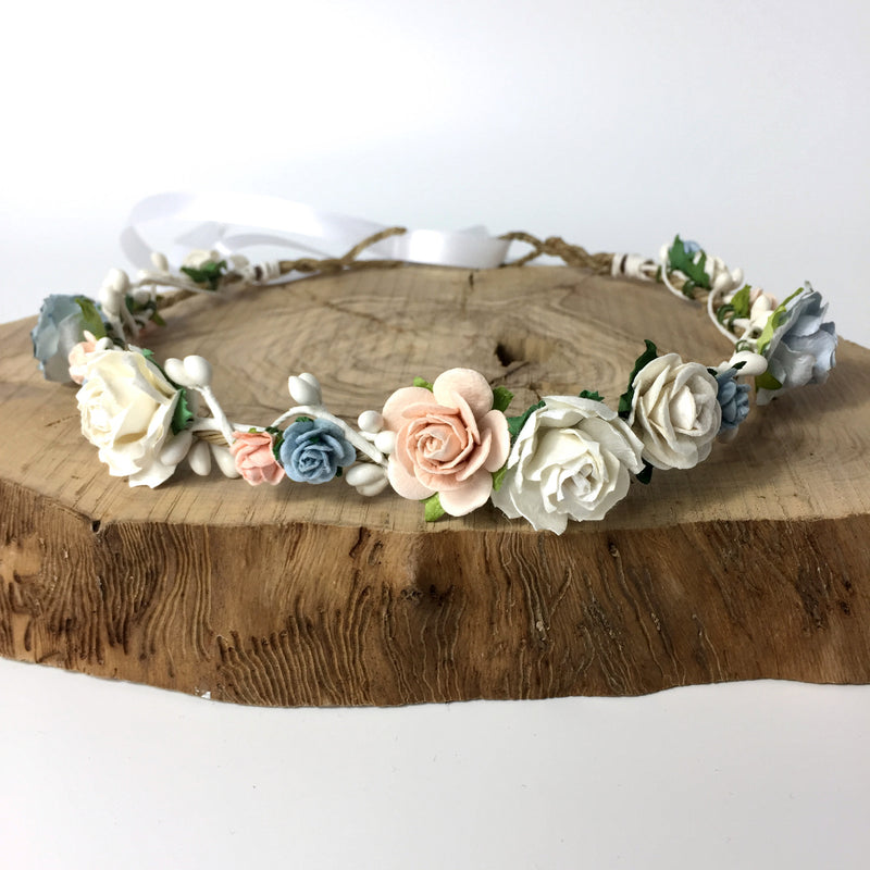 blue peach flower crown