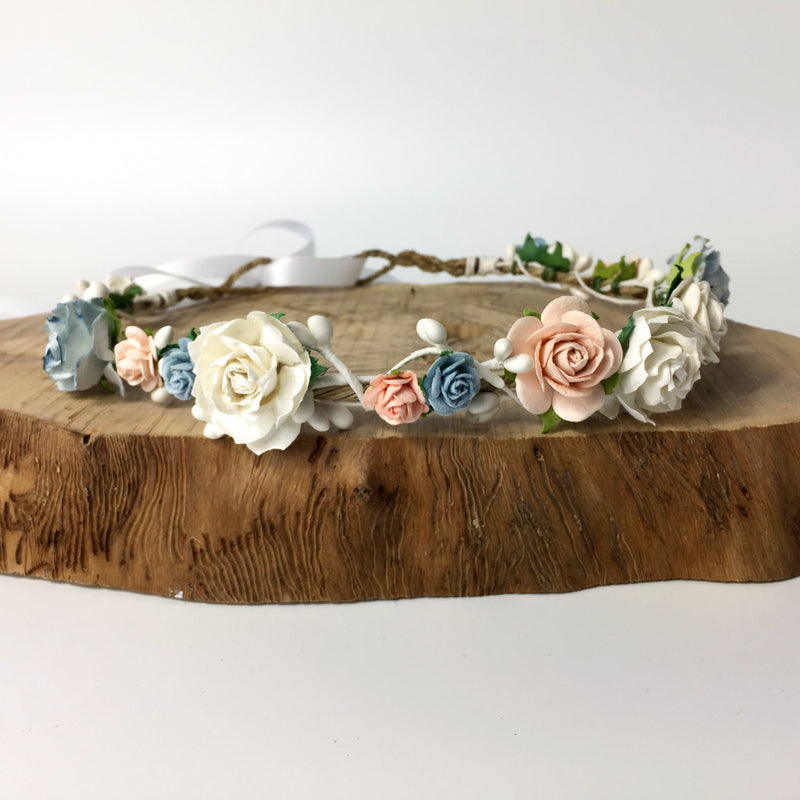 peach and blue white wedding floral crown
