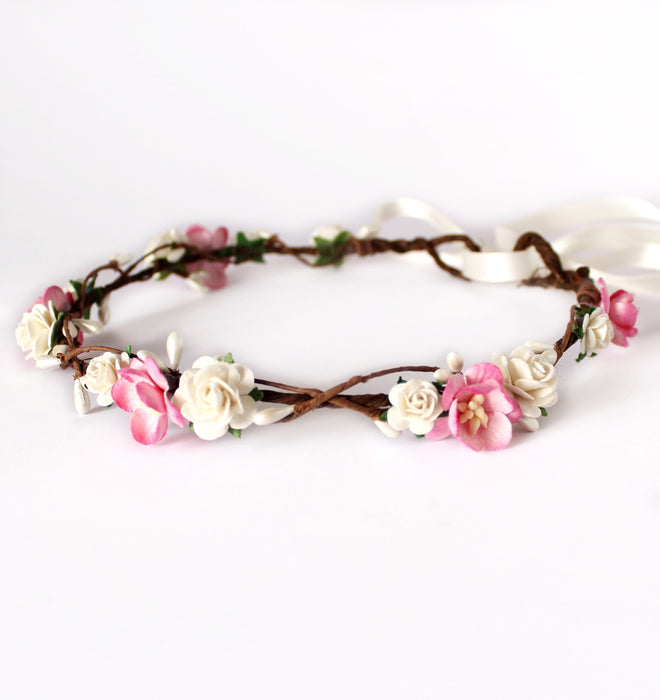 pink blossom rose flower crown
