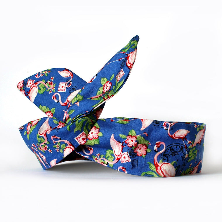 Blue Flamingo Postcard Dolly Bow