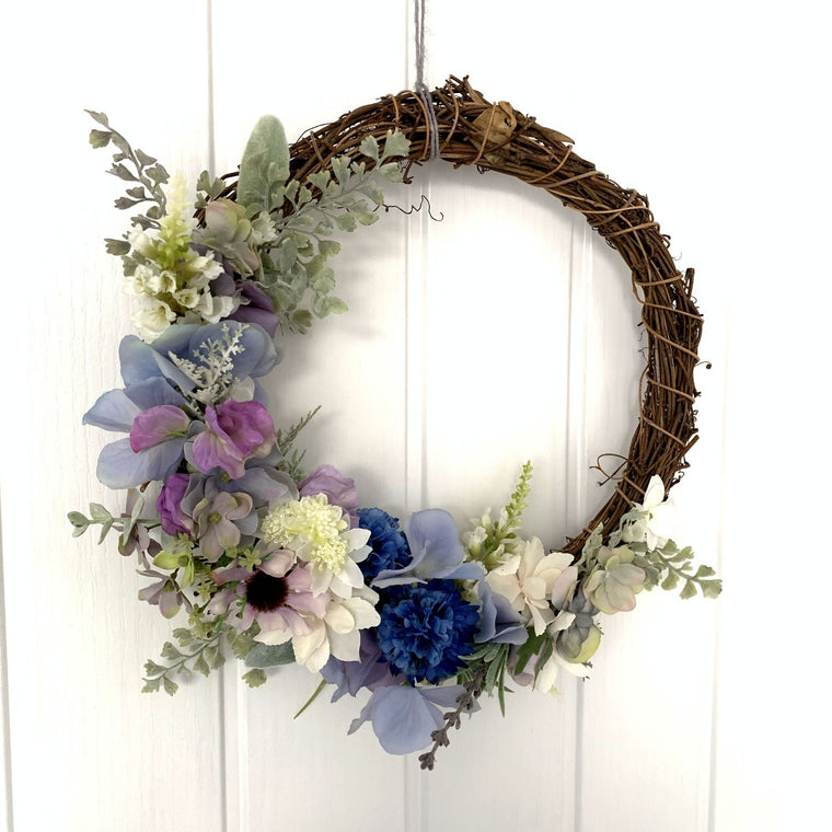 Blue Grapevine Spring Wreath