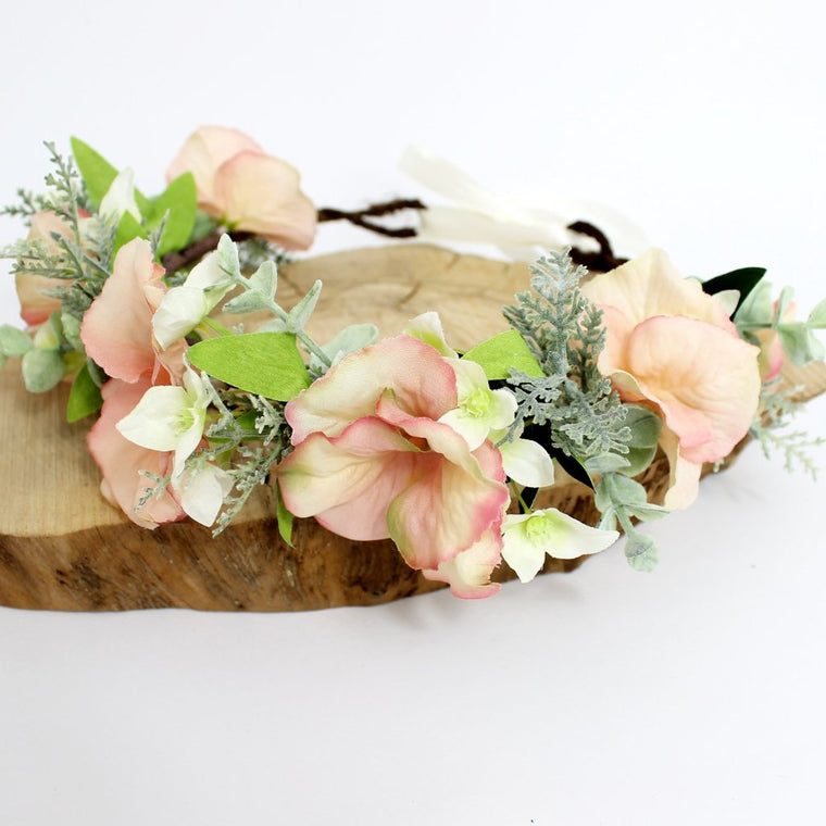 BAILEY Blush Hydrangea and Fern Flower Crown