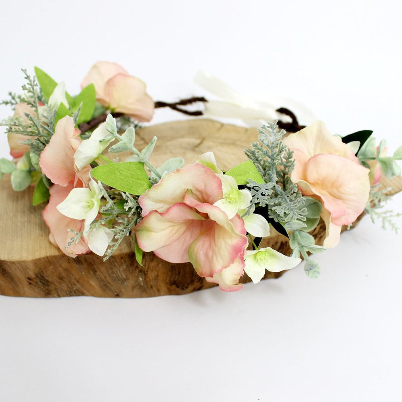 Blush flower crown for wedding