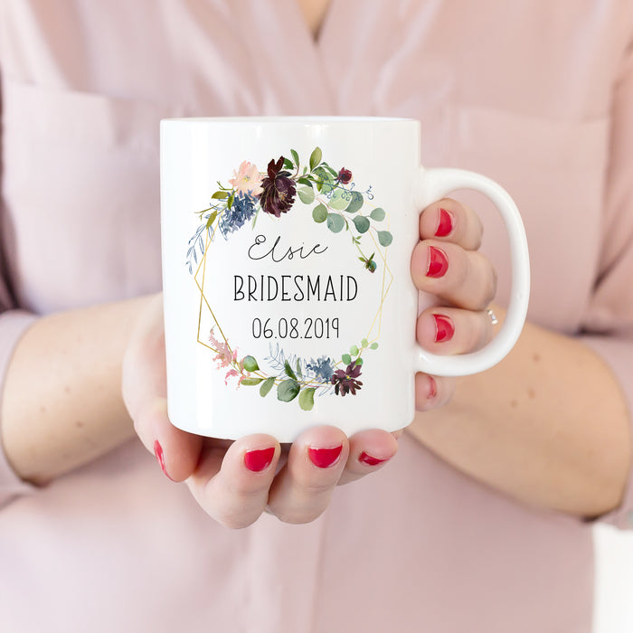 thank you present for bridesmaid floral mug
