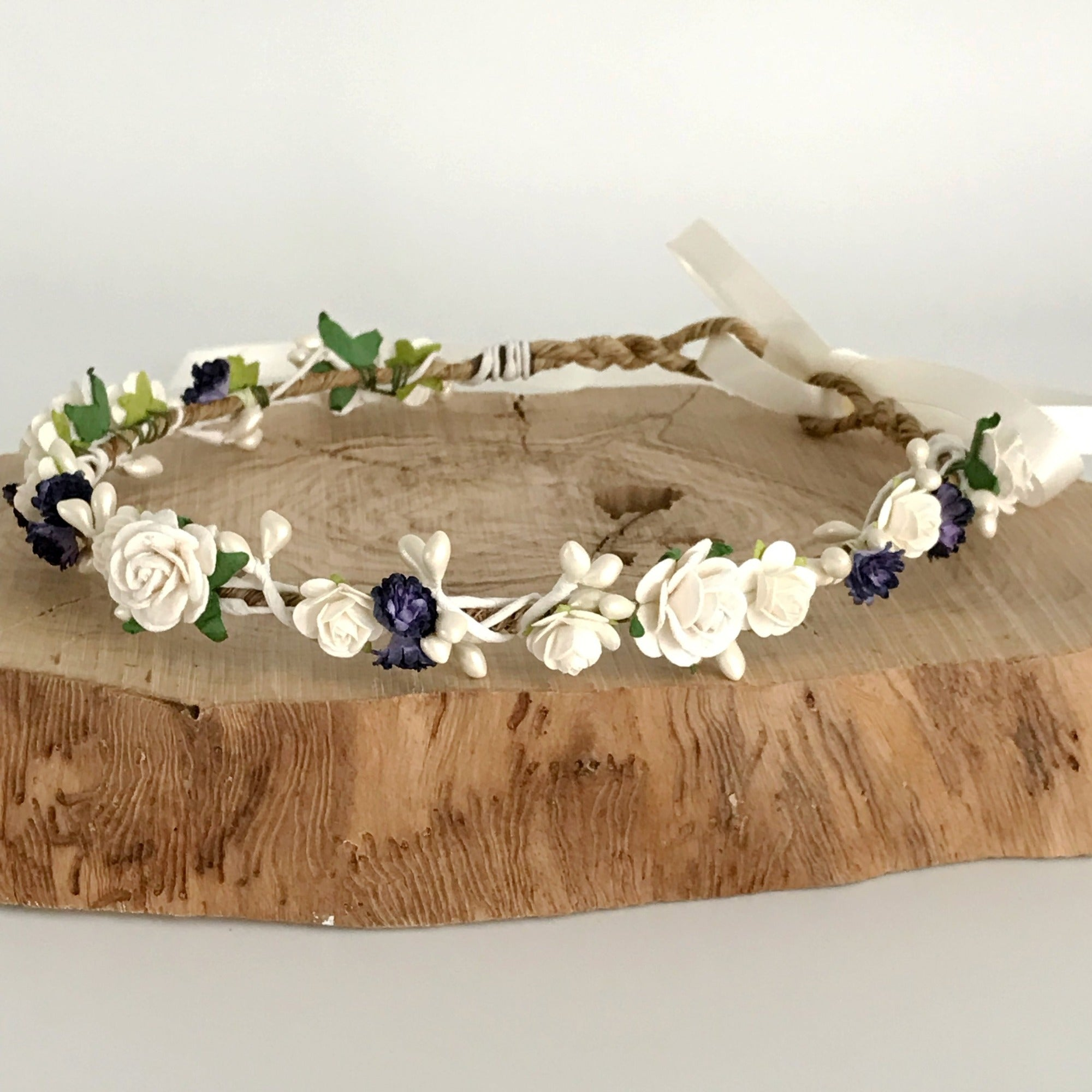 indigo navy and ivory flower crown for wedding