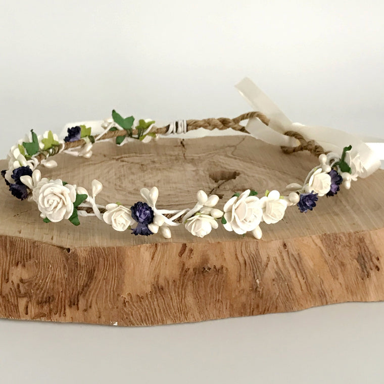 CATHERINE Ivory Rose and Indigo Gypsophila Flower Crown